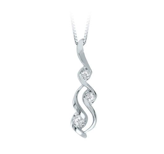 White gold three diamond pendant
