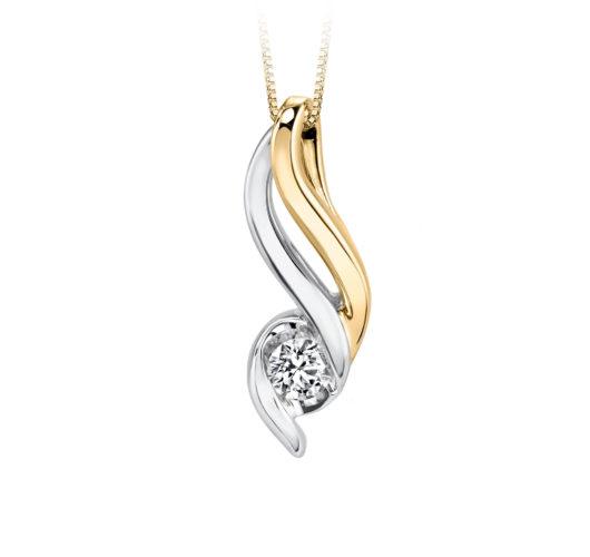 Yellow and white gold diamond pendant