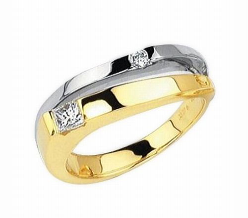 Yellow and white gold two diamond ring