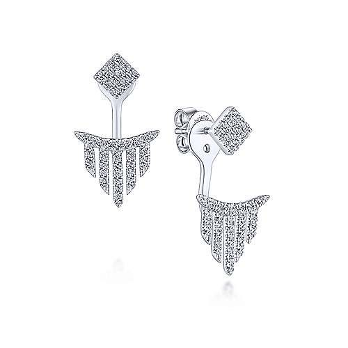 White gold diamond peek-a-boo earrings