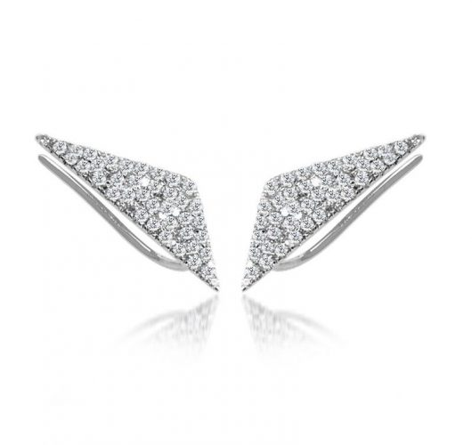 White gold triangle ear pins