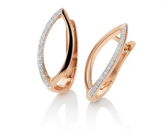 Rose gold diamond open marquise hoop earring
