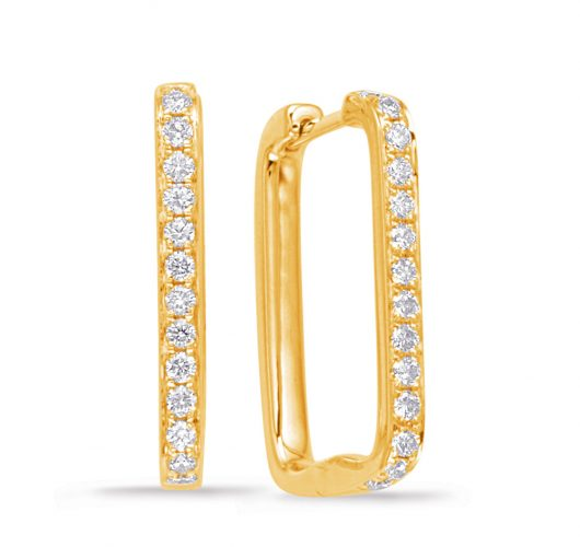Yellow gold rectangular diamond hoops