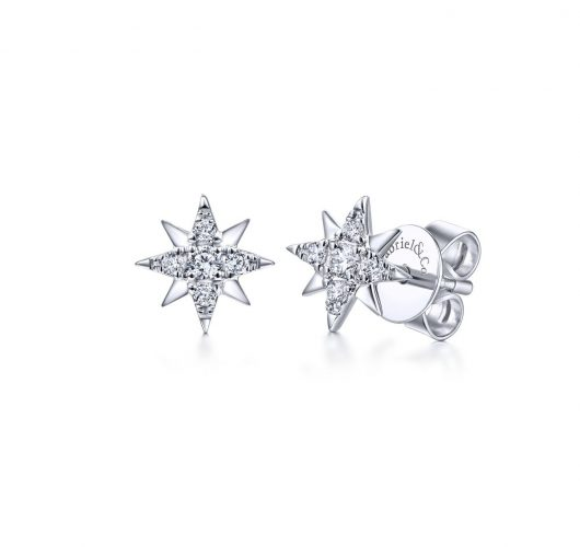 White gold diamond star earrings