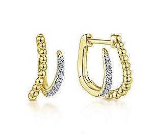 Yellow gold beaded diamond earrings